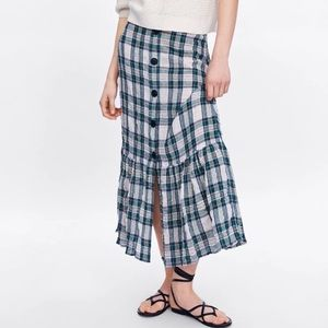 NWT Zara Linen Plaid Skirt with Faux Buttons